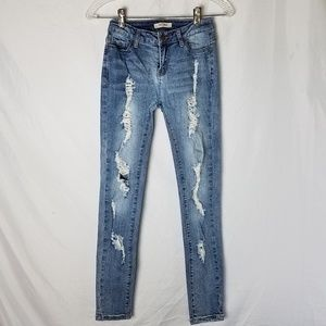 Encore Distressed Ripped Skinny Jeans - Size 0